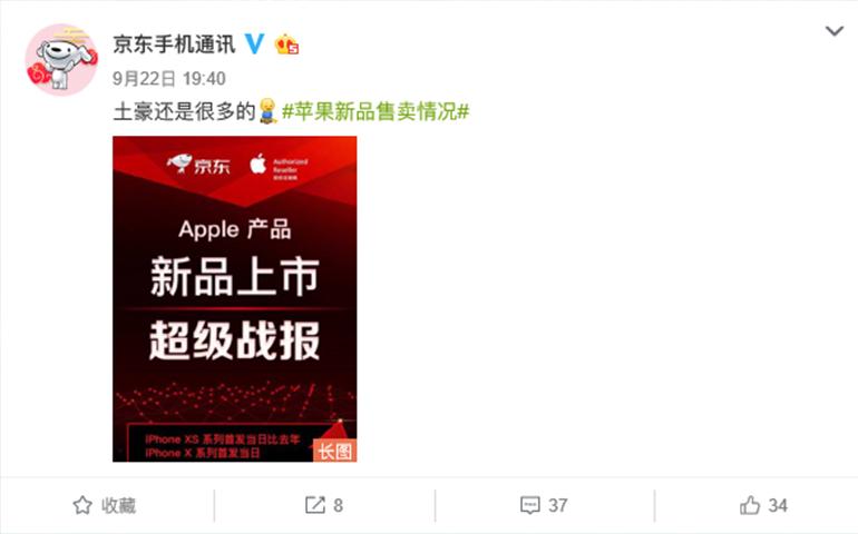 iPhone XS京东首发日战报:相比去年iPhone X销售额增长1300%