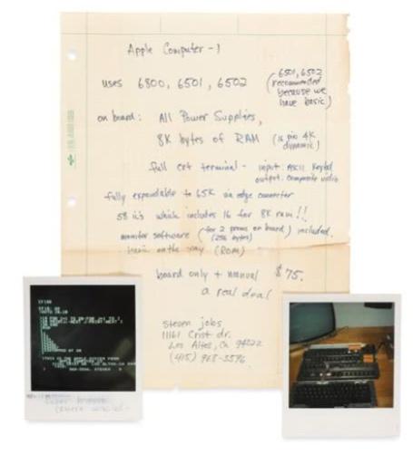 乔布斯亲笔写有Apple I主板规格的草纸周三拍卖:预估6万美元