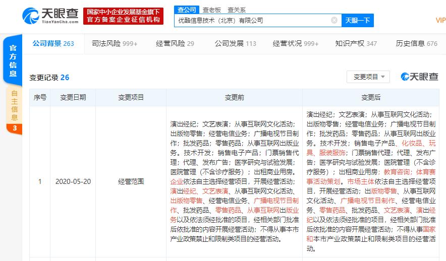 优酷信息技术(北京)有限公司发生工商变更,新增销售化妆品、玩具、服装服饰