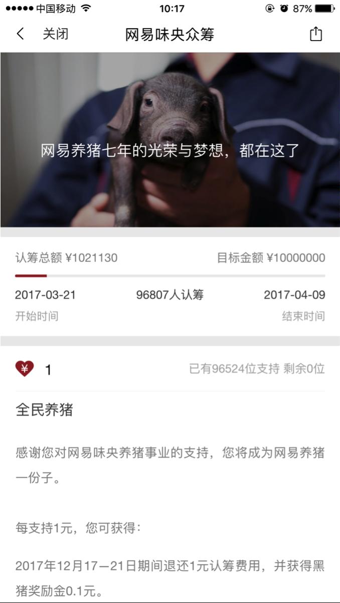 Netease start taste all central national pig raising activities: 17 minutes to break 1 million yuan