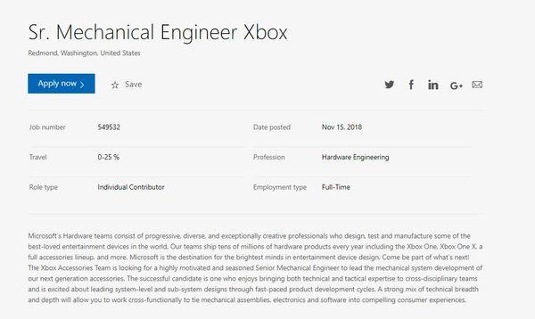 下一代Xbox主机研发部门在招主体硬件工程师