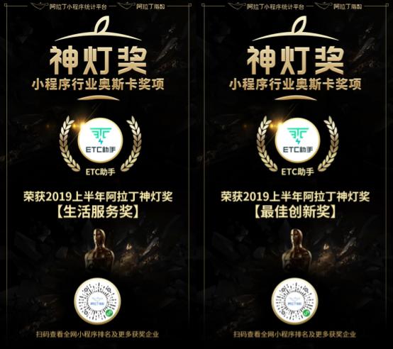 ETC助手斩获2019上半年阿拉丁「神灯奖」双项大奖