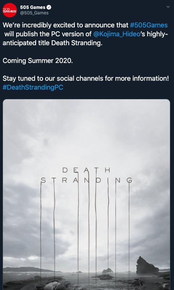 《死亡搁浅》PC版宣布将由505 Games负责发行