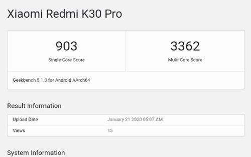Redmi K30 Pro亮相GeekBench:單核903,多核3362