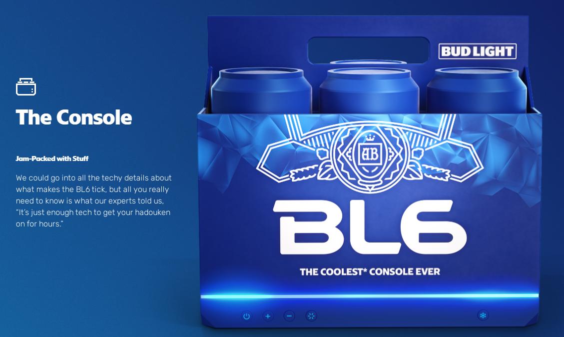 百威旗下啤酒品牌推出BL6游戏机加入次时代主机大战