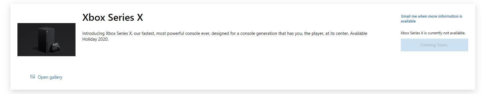 Xbox Series X微软官方网站商店购买界面上线