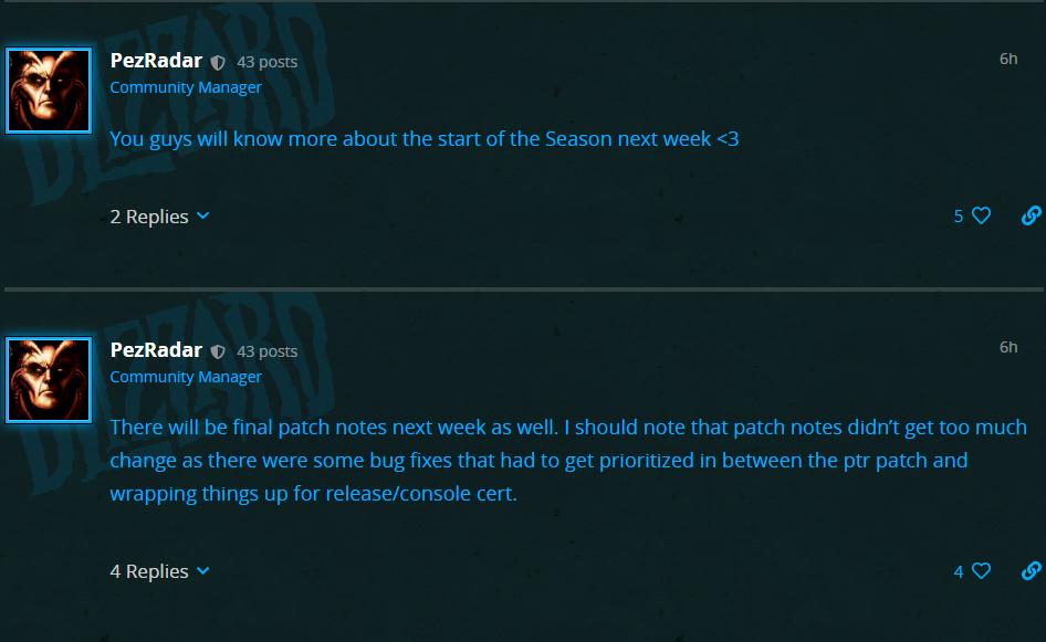 《暗黑破坏神III》21赛季相关信息将于下周公布