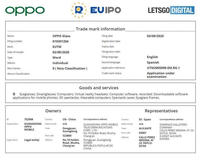 "OPPO在欧洲申请""OPPOGlass""商标"