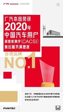 说明: 广汽本田斩获2020年CACSI合资品牌No.1